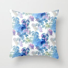 Watercolor painted foliage pattern on white background Throw Pillow
