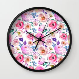 Lilac pink lavender hand painted watercolor roses floral Wall Clock