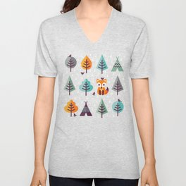 FOX IN THE FOREST Unisex V-Neck