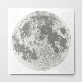 Grey Full Moon Print, by Christy Nyboer Metal Print