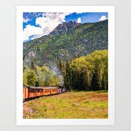 San Juan Mountain Landscape and Durango and Silverton Train Art Print