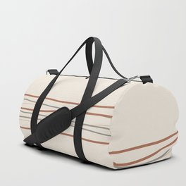 Off White Solid Color with Minimal Scribble Stripes Bottom Brown, Gray, And Beige Duffle Bag