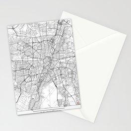 Munich Map White Stationery Cards