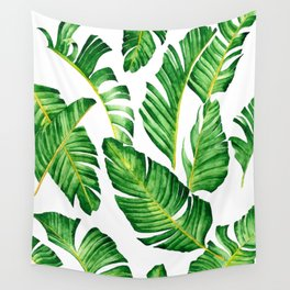 Banana Leaves pattern in watercolor Wall Tapestry