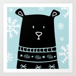 Book Doodles Bear (Blue) Art Print
