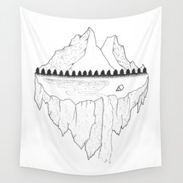 Serene Floating Mountain Campsite Wall Tapestry