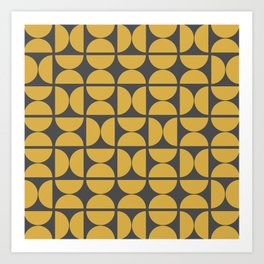 Scandinavian Half Circles (Spicy Mustard, Charcoal Black) Art Print