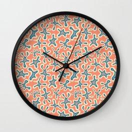 Hazey blob orange and blue Wall Clock