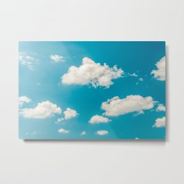 Deep Blue Summer Sky, White Clouds On Turquoise Sky, Heaven Scenery, Wall Art, Poster Decor Metal Print