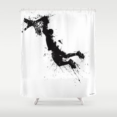 Basketball player dunking in ink Shower Curtain