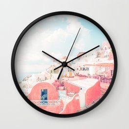 Mamma Mia Greece Pink streets old village photography in HD Wall Clock