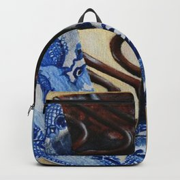 Brownie Cheesecake on Blue Willow Plate Backpack