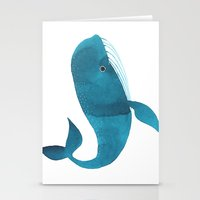 oana befort Stationery Cards featuring HAPPY WHALE by Oana Befort