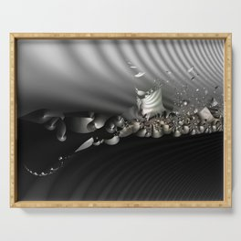 Storm of life renewal - Black and white with a hint of tint Serving Tray