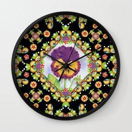 Purple Pansy Portrait Wall Clock