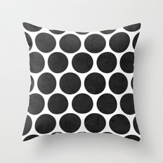 black polka dots Throw Pillow