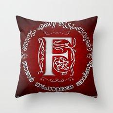 Joshua 24:15 - (Silver on Red) Monogram F Throw Pillow