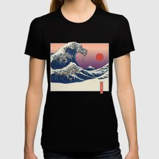 The Great Wave of Pug   Womens Fitted Tee Black MEDIUM