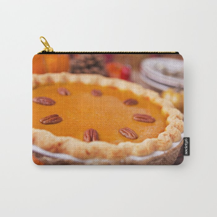 Homemade pumpkin pie on a rustic table with autumn decorations Carry-All Pouch