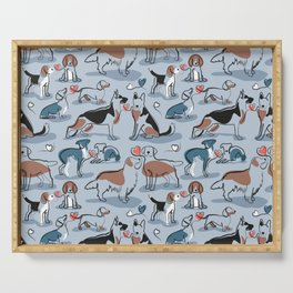 Woof endless love // pastel blue background coral hearts continuous lined pair of dog breeds Serving Tray