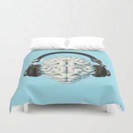 Mind Music Connection /3D render of human brain wearing headphones Duvet Cover