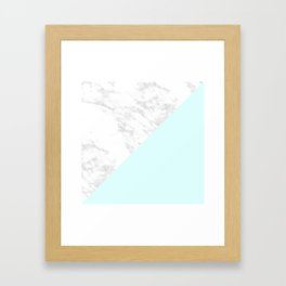 White Marble with Pastel Blue and Grey Framed Art Print