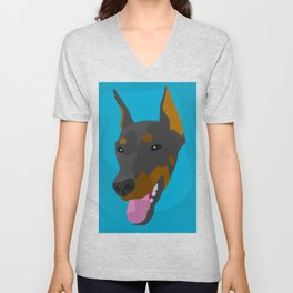 Doberman portrait Unisex V-Neck