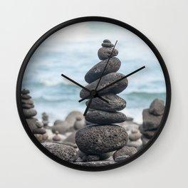 Chorten Rocks on Beach Wall Clock