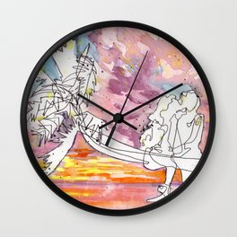 Kissing in a Palm Tree Wall Clock