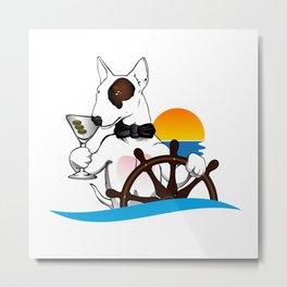 Elegant Bull terrier with helm Metal Print