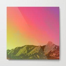 Boulder Colorado Flatirons Decor \\ Chautauqua Park Sunset Red Yellow Photo Nature Bohemian Style Metal Print