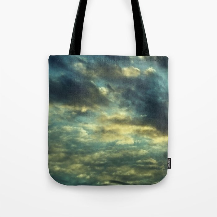 Cloudy Gray Blue Sky Vintage Tote Bag