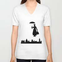 mary poppins V-neck T-shirts featuring Mary Poppins by TheWonderlander