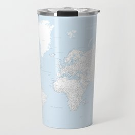 World map, highly detailed in light blue and white, square Travel Mug