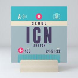 Retro Airline Luggage Tag - ICN Seoul Korea Mini Art Print
