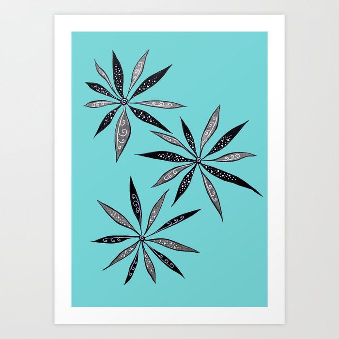 Elegant Thin Flowers With Dots And Swirls Art Print