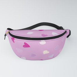 Love, Romance, Hearts - Blue Purple Pink White Fanny Pack