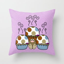 Cute Monster With Blue And Brown Polkadot Cupcakes Throw Pillow
