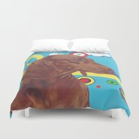 dachshund Duvet Covers featuring Dachshund by Ashley Corbello