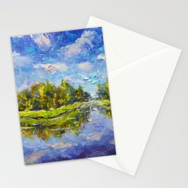Original Oil and palette knife painting on paper: Green islands are reflected in blue water. Paintin Stationery Cards