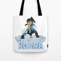 the legend of korra Tote Bags featuring Korra by HelloTwinsies