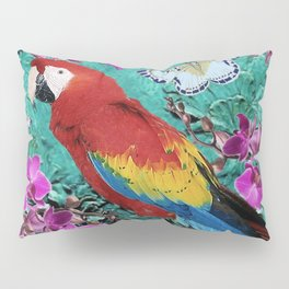TROPICAL ORCHIDS RED MACAW PARROT JUNGLE ART Pillow Sham
