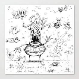 Happy Squid Boy and Friends sketch Canvas Print