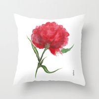 peony Throw Pillows featuring Peony by Gosia&Helena