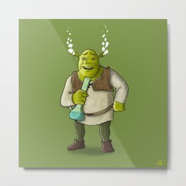 Shrek Smoking Metal Print