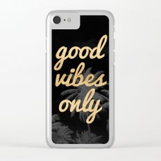 Good Vibes Only Palm Trees Clear iPhone Case