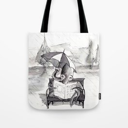 an octopus that walks on land part1 reading a newspaper in the rain Tote Bag