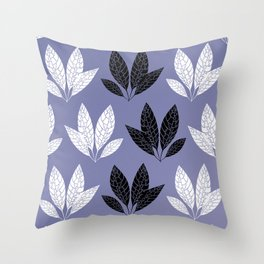 White and black leaves in purple background Throw Pillow