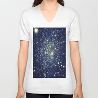 galaxy V-neck T-shirts featuring galaxY Stars : Midnight Blue & Gold by 2sweet4words Designs