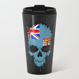 Flag of Fiji on a Chaotic Splatter Skull Travel Mug